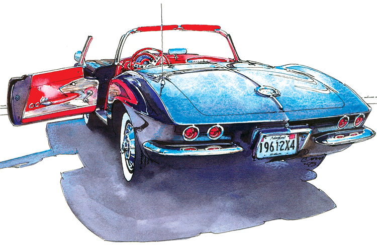 An ink and watercolor illustration by Cory Cory Correll '77 of a Corvette Stingray.