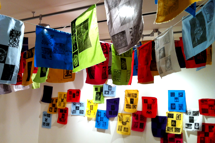 All of the printed flags were hung in the exhibition space that featured Raj Bunnag's art.
