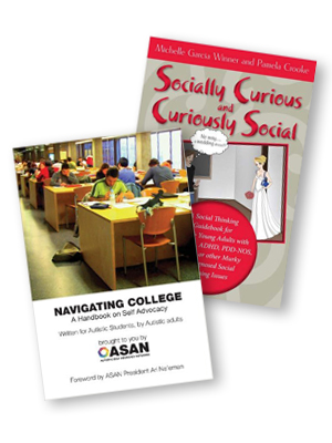 Some resources that might be helpful: Navigating College: A Handbook on Self-Advocacy Written for Autistic Students from Autistic Adults published by The Autistic Self-Advocacy Network (ASAN), and Socially Curious and Curiously Social by Michelle Garcia Winner and Pamela Cooke.