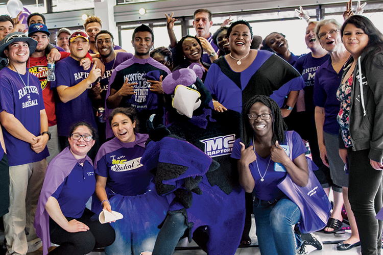 Students, faculty, staff, and Montgomery College administrators participate in a celebration of school spirit during Spirit Week 2016.